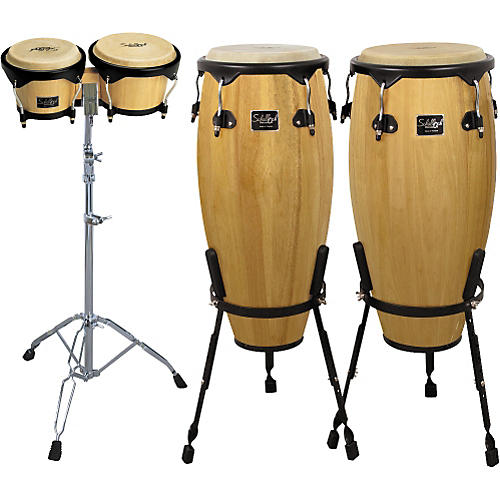 Schalloch Natural Conga/Bongo Set with Stands-thumbnail