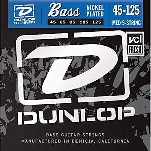 Click here to buy Dunlop Nickel Plated Steel Bass Strings - Medium 5 String by Dunlop.