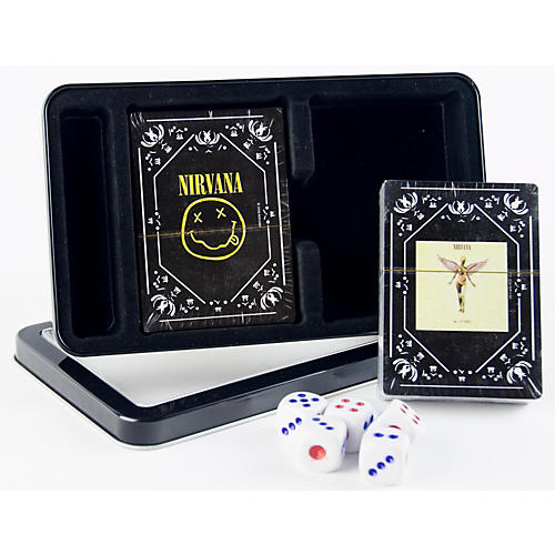 Axe Heaven Nirvana Double Deck Playing Card Set with Dice - In Utero Cover and Nirvana Smiley in Tin Box-thumbnail