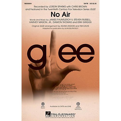 Hal Leonard No Air (from Glee) SATB by Chris Brown arranged by Adam Anders