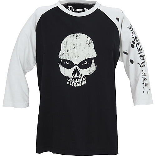 Dragonfly Clothing Company Now Skull Men's Raglan T-Shirt