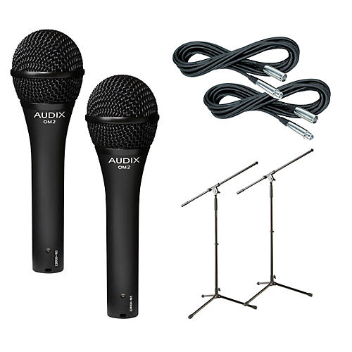 Audix OM-2 Mic with Cable and Stand 2 Pack-thumbnail