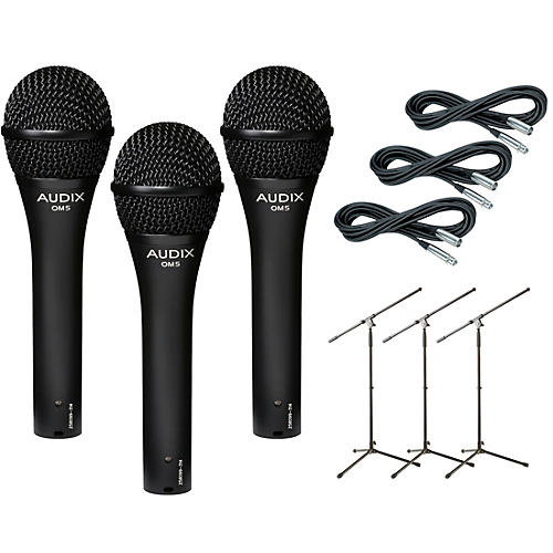 Audix OM-5 Mic with Cable and Stand 3 Pack-thumbnail