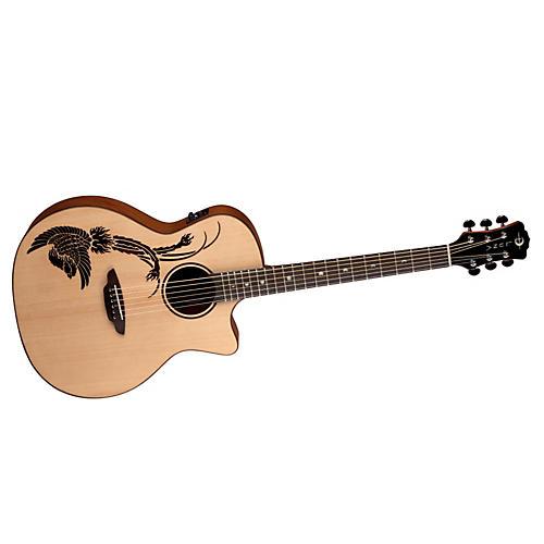 Luna Guitars Oracle Folk Series Phoenix Cutaway Acoustic-Electric Guitar Natural Phoenix Design