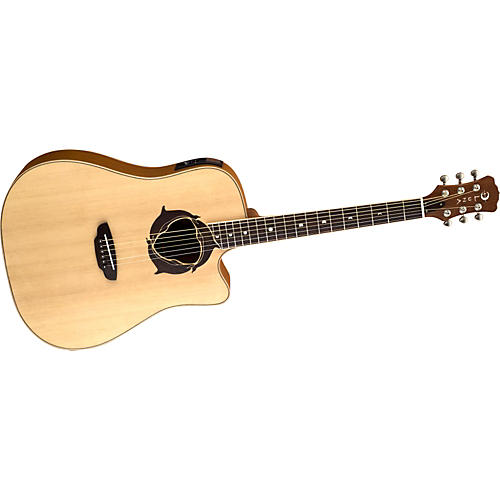 Luna Guitars Oracle Series Dolphin Dreadnought Cutaway Acoustic-Electric Guitar Natural