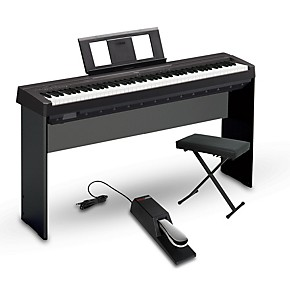 yamaha p 45 88 key weighted action digital piano package black intermediate home package. Black Bedroom Furniture Sets. Home Design Ideas