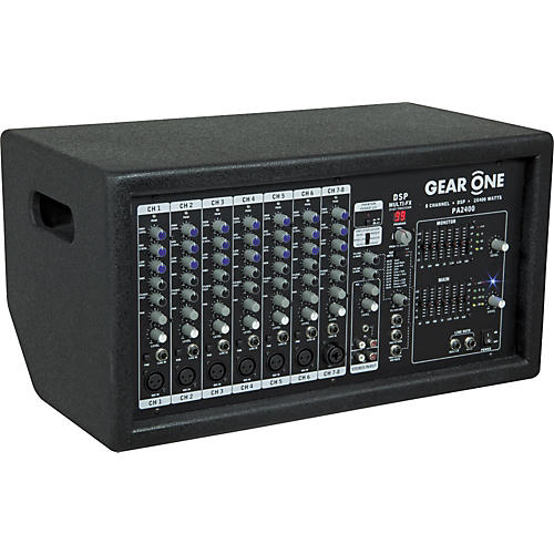 Gear One PA2400 8 Ch Powered Mixer 2 x 400 wt-thumbnail