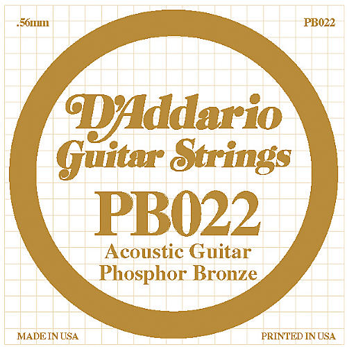 D'Addario PB022 Phosphor Bronze Single Acoustic Guitar String-thumbnail