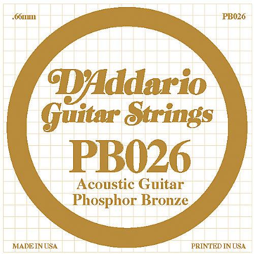 D'Addario PB026 Phosphor Bronze Single Acoustic Guitar String  Single