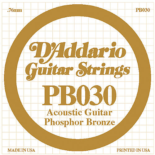 D'Addario PB030 Phosphor Bronze Acoustic Guitar Strings  Single