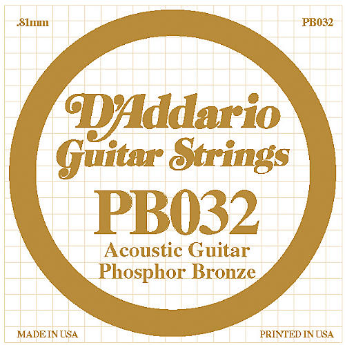 D'Addario PB032 Phosphor Bronze Single Acoustic Guitar String  Single
