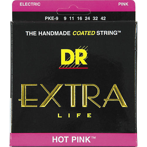 DR Strings PKE-9 Hot Pink Coated Lite Electric Guitar Strings-thumbnail