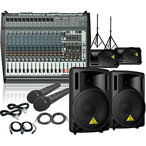 Behringer PMP6000 / B212XL Mains Monitors and Mics Package