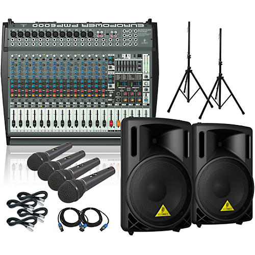 Behringer PMP6000 B215XL Powered Mixer Mains and Mics Package-thumbnail
