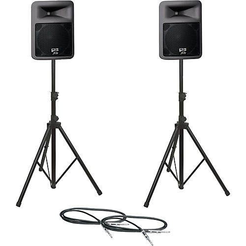 Peavey PR12D Speaker Pair with Stands and Cables-thumbnail