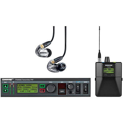 Shure PSM900 System with P9RA Rechargeable Bodypack Receiver and SE425CL Sound Isolating Earphones Band L6