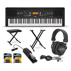 Yamaha psr ew300 76 key portable keyboard package guitar for Yamaha psr ew300 keyboard