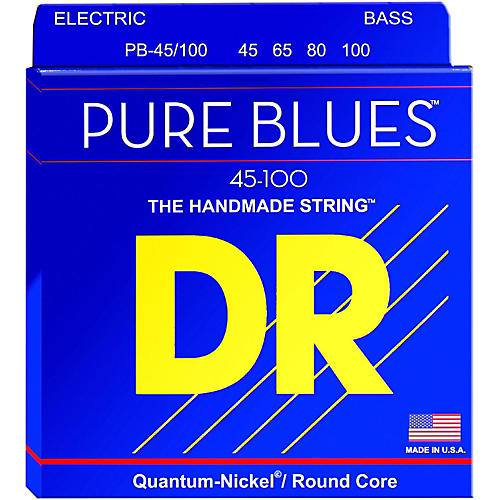 DR Strings PURE BLUES Medium-Lite 4-String Bass Strings (45-100)-thumbnail
