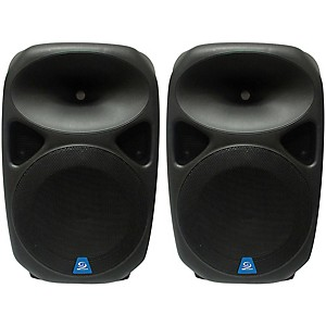 Gem Sound PXB150USB 15 inch Powered Speakers Pair with USB/SD Media Player/Whee...