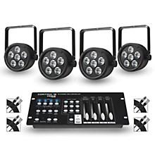 Proline Package of 4 ProLine VENUE ThinTri38 Tri-color LED Par Wash Lights with DMX Controller and Cables