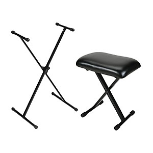 On-Stage Stands Padded Keyboard Bench with Single-Braced Stand Combo by On Stage Stands