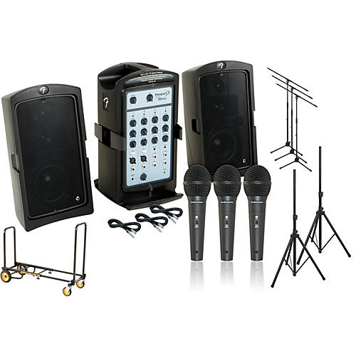 Fender Passport 150 Pro 3 Mic PA Package with Rock N Roller Cart