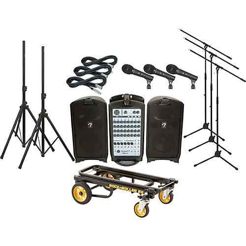 Fender Passport 500 Pro 3 Mic PA Package with Rock N Roller Cart