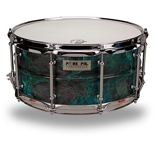 Pork Pie Patina Brass snare drum-thumbnail