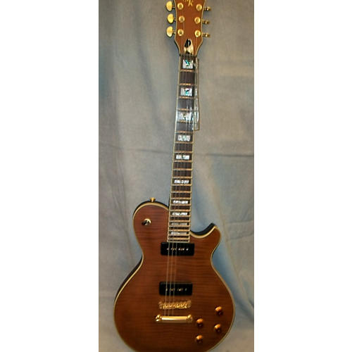 Michael Kelly Patriot Vintage Flame Amber Solid Body Electric Guitar-thumbnail