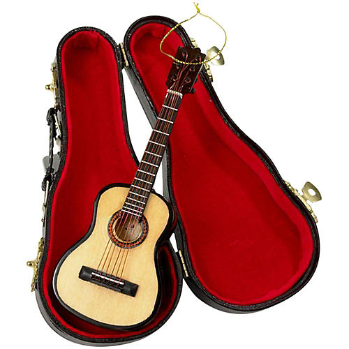 Kurt S. Adler Pearlized Guitar Ornament with Leather Case 5.52 in.