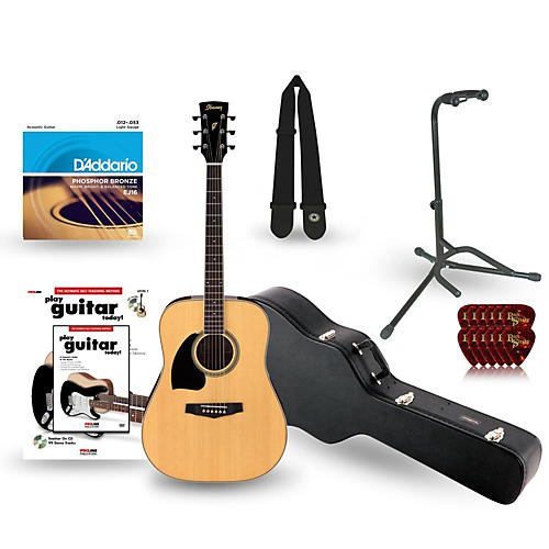 Ibanez Performance Series PF15 Left-Handed Dreadnought Acoustic Guitar Deluxe Bundle-thumbnail