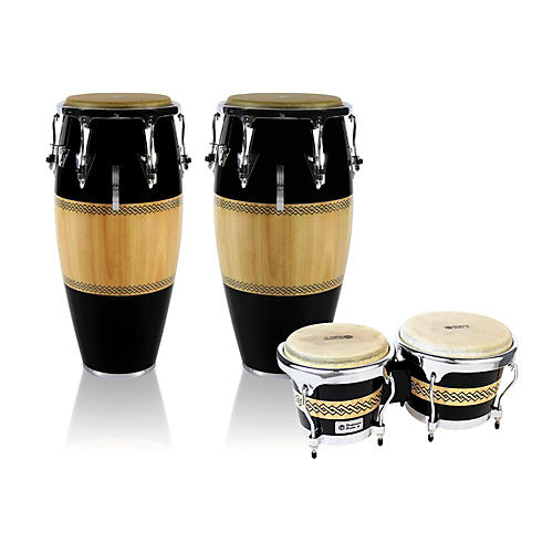 LP Performer Series 2-Piece Conga and Bongo Set with Chrome Hardware Black/Natural