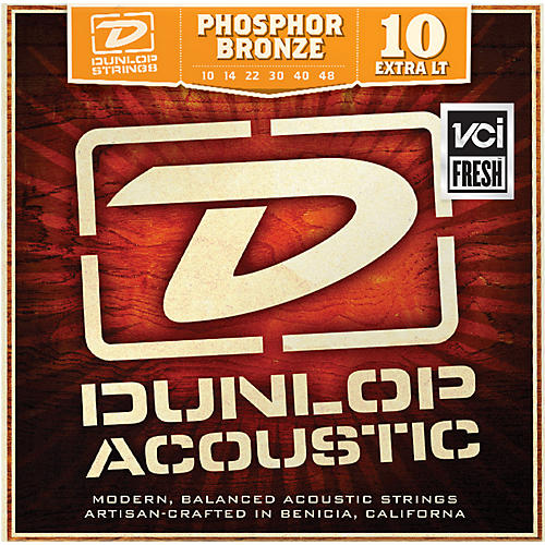 Dunlop Phosphor Bronze Extra Light Acoustic Guitar Strings-thumbnail