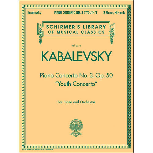 G. Schirmer Piano Concerto No 3 Op 50 2 Pianos 4 Hands Youth Concerto By Kabalevsky-thumbnail