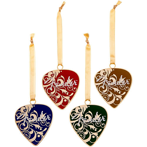 Fender pick christmas ornaments set of 4 various colors for Christmas ornaments clearance