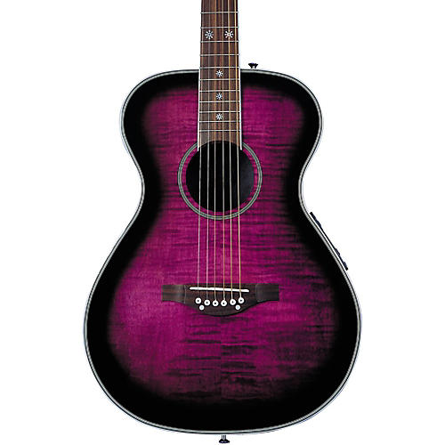 Daisy Rock Pixie Acoustic/Electric Guitar Left-Handed Plum Purple Burst