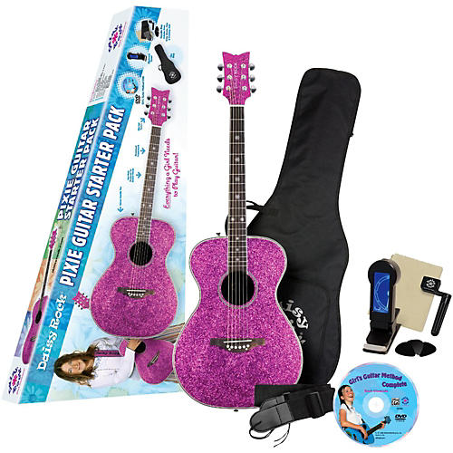 Daisy Rock Pixie Acoustic-Electric Guitar Starter Pack (Pink Sparkle)-thumbnail