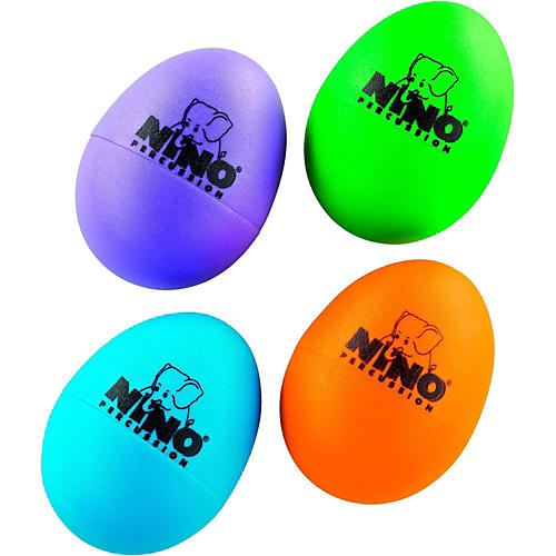 Nino Plastic Egg Shaker 4 Piece Assortment Aubergine/Grass Green/Orange/Sky Blue