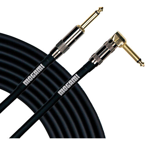 Mogami Platinum Instrument Cable with Right Angle to Straight End Connectors 20 ft. Right Angle to Straight