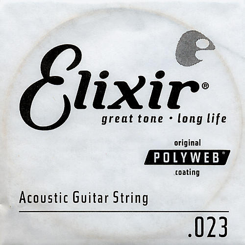 Elixir Polyweb .023 Acoustic Guitar String 4-Pack Singles-thumbnail