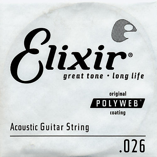 Elixir Polyweb .026 Acoustic Guitar String 4-Pack Singles-thumbnail