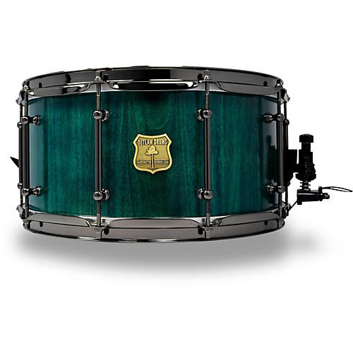 OUTLAW DRUMS Poplar Stave Snare Drum with Black Chrome Hardware-thumbnail