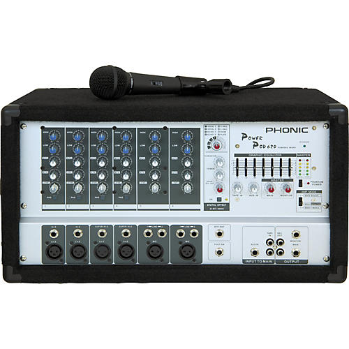 Phonic Powerpod 620 Powered Mixer with Microphone and Speaker Cables