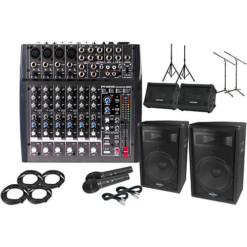 Phonic Powerpod 820 Mixer with 15 in. S715 Mains and KPC10M 10 in. Monitors Package-thumbnail