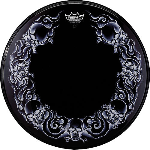 remo powerstroke tattoo skyn bass drumhead black 22 in skulls guitar center. Black Bedroom Furniture Sets. Home Design Ideas