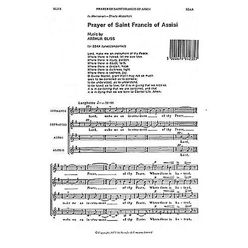 Novello Prayer of Saint Francis of Assisi SSAA Composed by Arthur Bliss