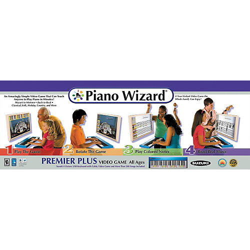 Piano Wizard Premiere Plus Piano Wizard Video Game with Suzuki 4 Octave USB Keyboard and USB Cable-thumbnail