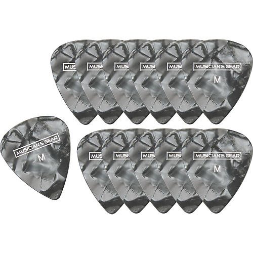 Musician's Gear Premium Pearloid Celluloid Pick - 12 Pack Black Medium