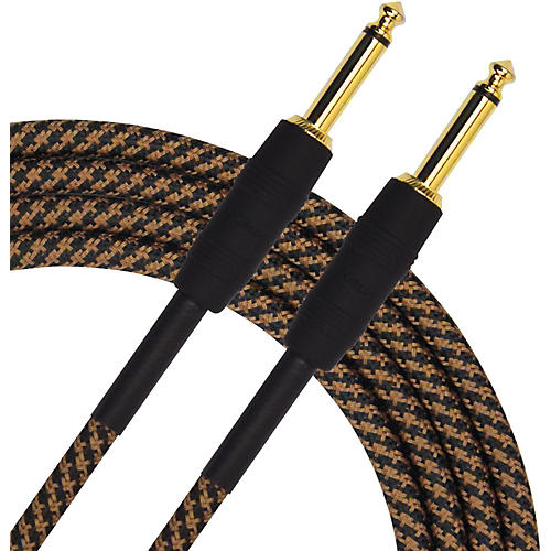 KIRLIN Premium Plus Instrument Cable, Brown/Black Woven Jacket-thumbnail