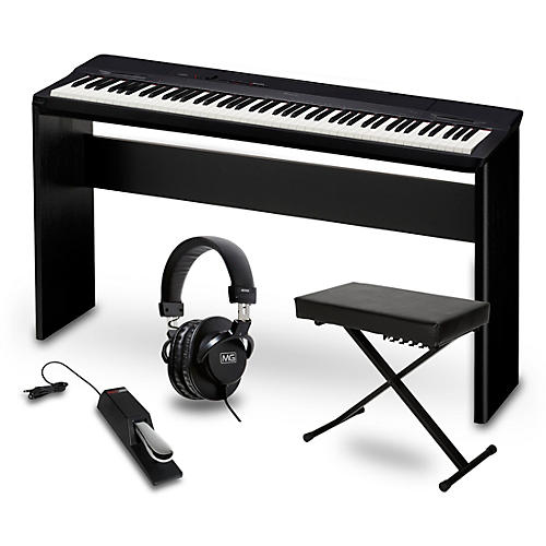 Casio Privia PX-160BK Digital Piano with CS-67 Stand, Sustain Pedal, Deluxe Keyboard Bench and Headphones-thumbnail